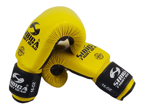 Leather Boxing Gloves-Yellow/Black