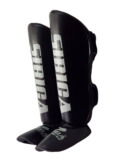 Synthetic Leather Shin Guards-Black
