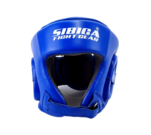 Leather Open Face Headguard-Blue