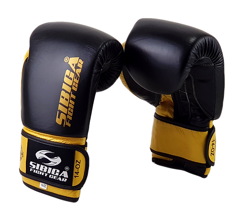 Leather Boxing Gloves -Black/Gold