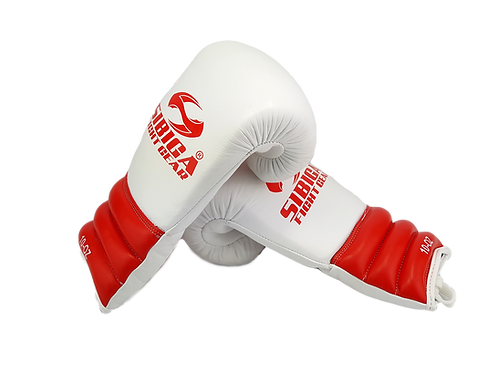 Premium Leather Boxing Gloves-white/Red