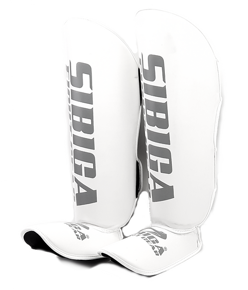 Synthetic Leather Shin Guards-White