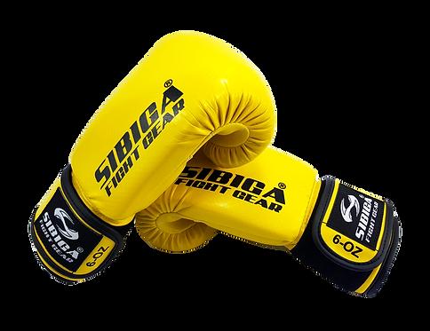 Kids Shiny Carbonium Sparring /training Boxing Gloves-Yellow