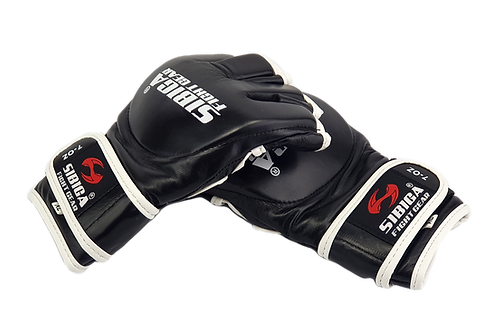 7oz Leather MMA Semi Pro Gloves-Black