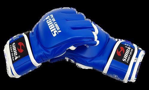 7oz Leather MMA Semi Pro Gloves-Blue