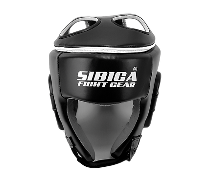 Synthetic Open Face,Padded Top Headguard-Black