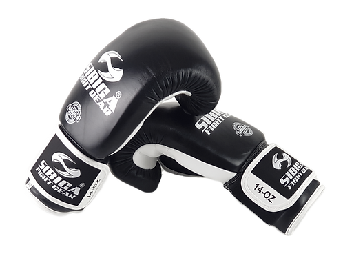 Premium Leather Boxing Gloves Thai Model-Black/White