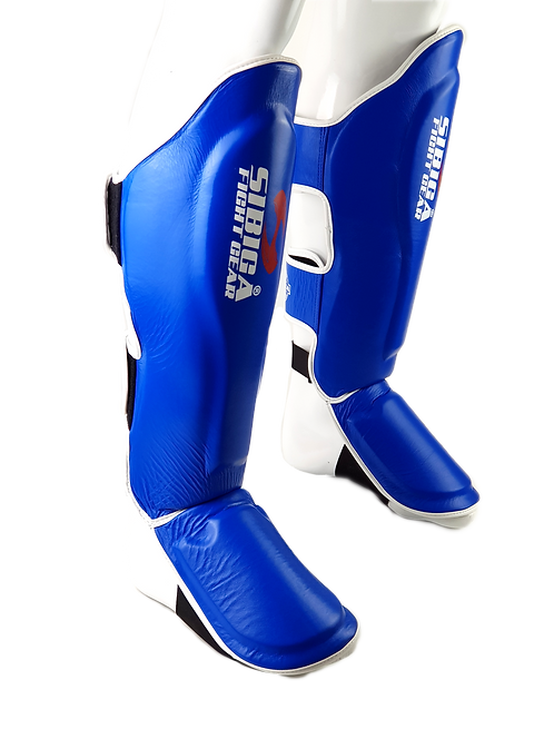 Premium Leather Shin Pads-Blue