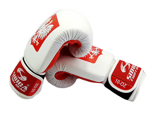 Leather Boxing Gloves-White/Red Poland