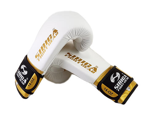 Leather Boxing Gloves White/Gold