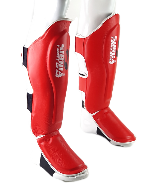 Leather Shin Guards-Red
