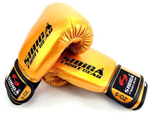 Kids Shiny Carbonium Boxing Gloves-Gold