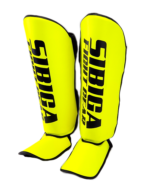 Synthetic Leather Shin Guards-Bright Yellow