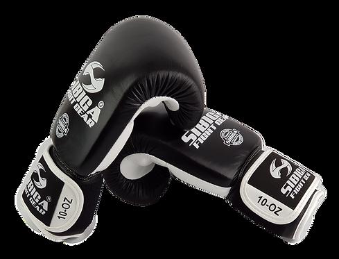 Leather Boxing Gloves-Black/White