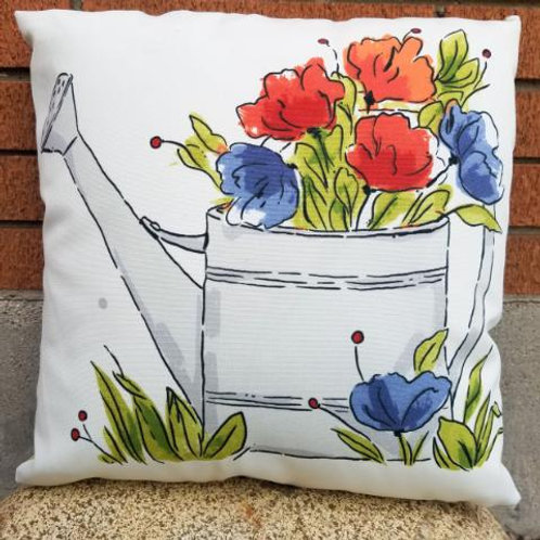 """18"""" Watering Can and Flowers Pillow Cover"""