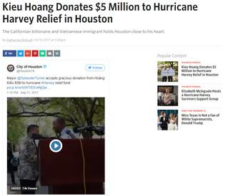 Kieu Hoang Donates $5 Million to Hurricane Harvey Relief in Houston