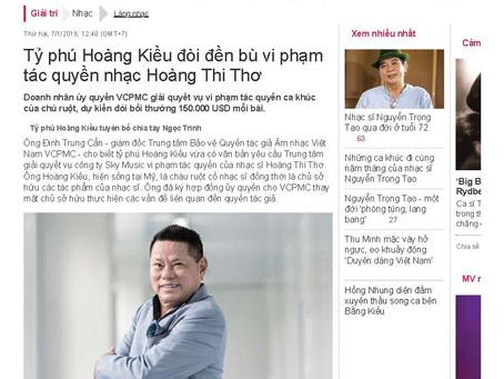 Tỷ phú Hoàng Kiều đòi đền bù vi phạm tác quyền nhạc Hoàng Thi Thơ