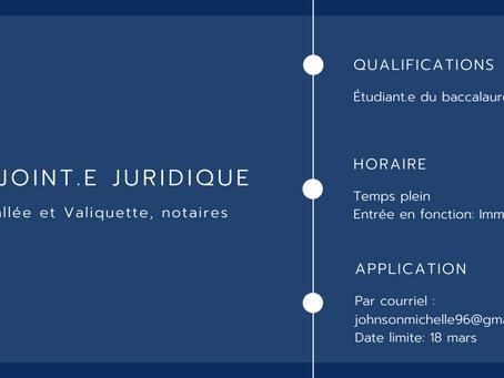 Adjoint.e juridique - Vallée et Valiquette, notaires