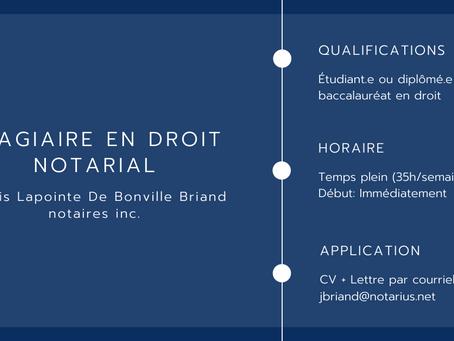 Stagiaire en droit notarial - Marois Lapointe De Bonville Briand notaires inc.