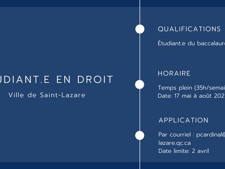 Étudiant.e en droit - Ville de Saint-Lazare