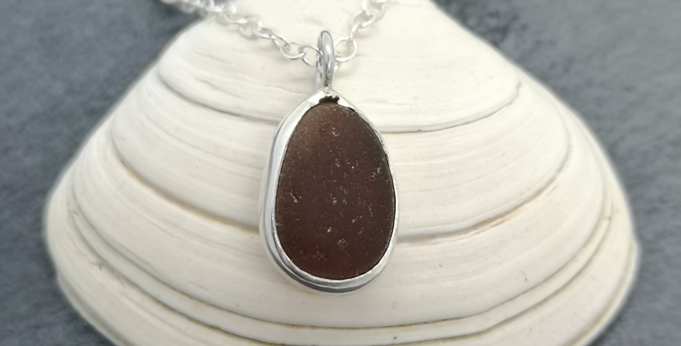 Little brown sea glass necklace
