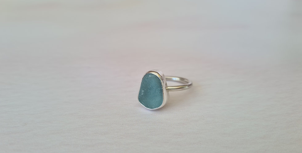 Chunky turquoise sea glass ring size N