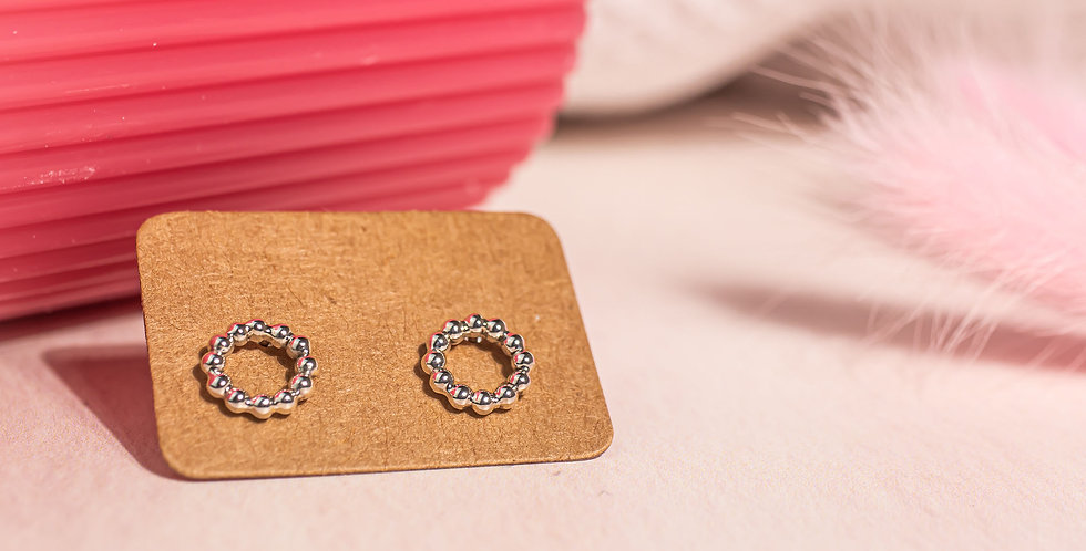 Circle Beaded Stud Earrings