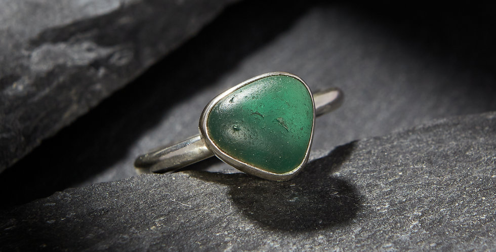 Turquoise sea glass ring size Q