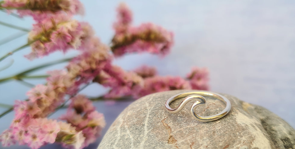 Handmade Eco- Silver Wave Ring