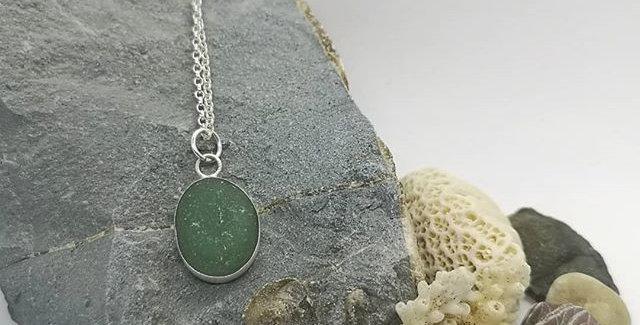 Dark green sea glass necklace