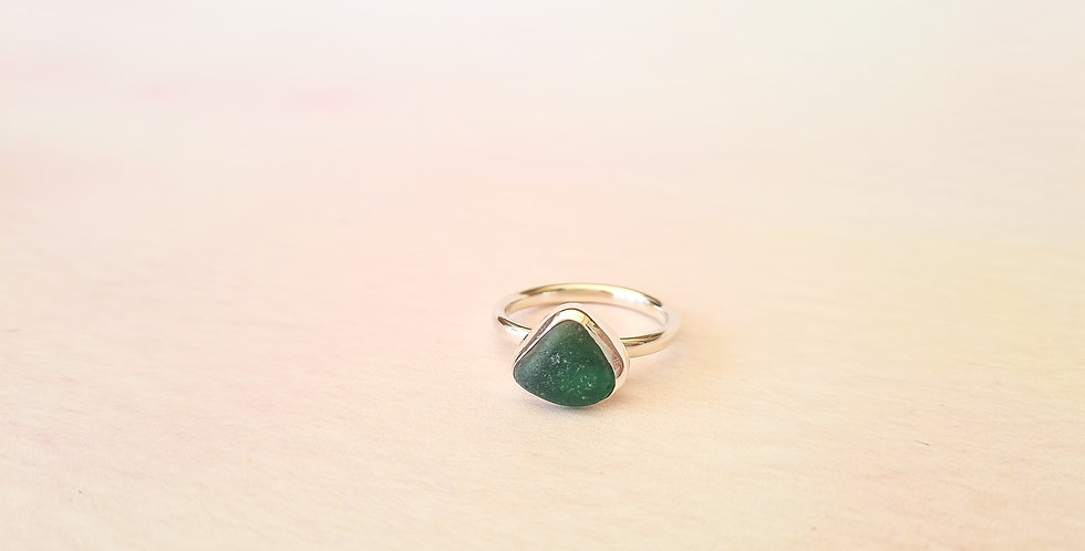 Turquoise triangle sea glass ring Size Q