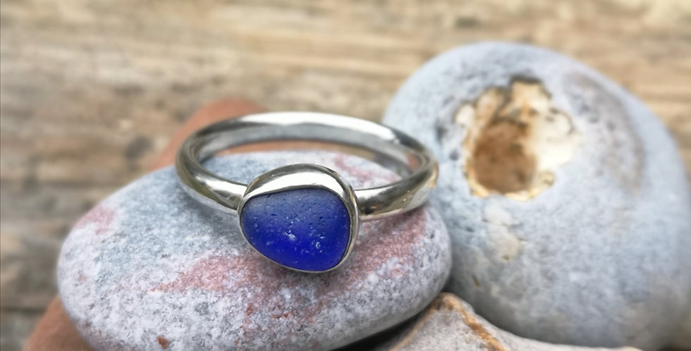 Navy blue sea glass ring size M
