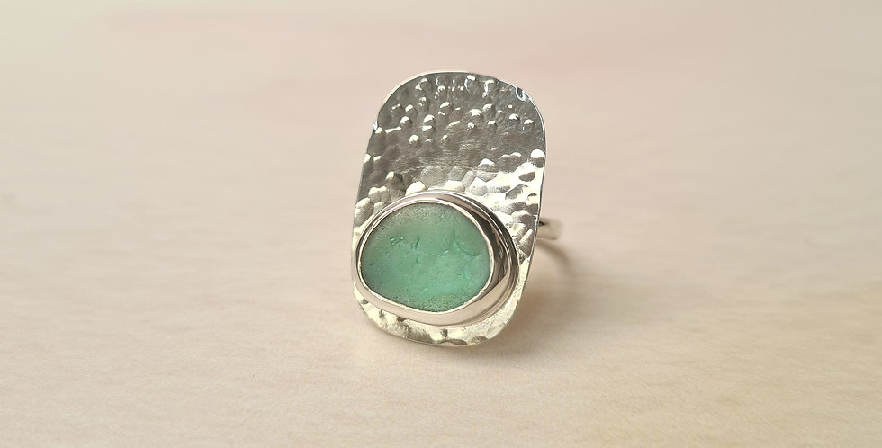 turquoise sea glass hammered ring size O