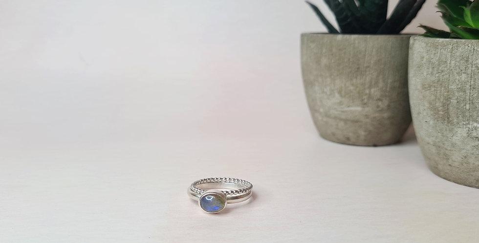 Oval labradorite ring - Size P 1/2
