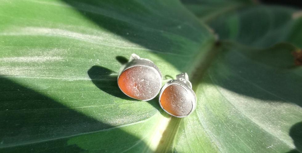 Brown sea glass stud earrings