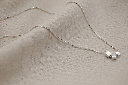 Minimal Silver Square Block Necklace