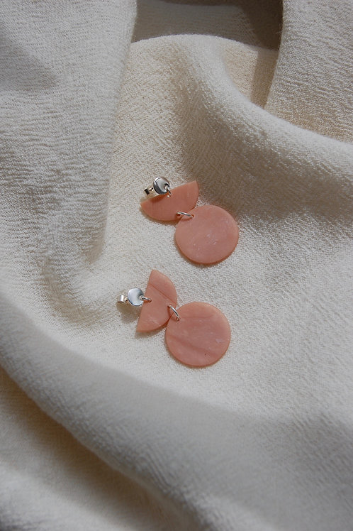 Coral Marble Three Tier Earrings