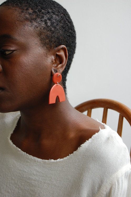 Terracotta Half moon Earrings