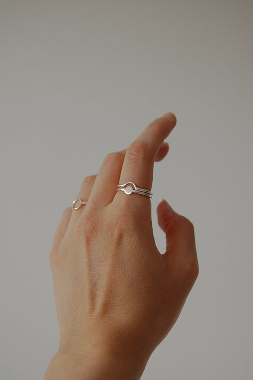 Stacking Silver Intersecting Geo Rings