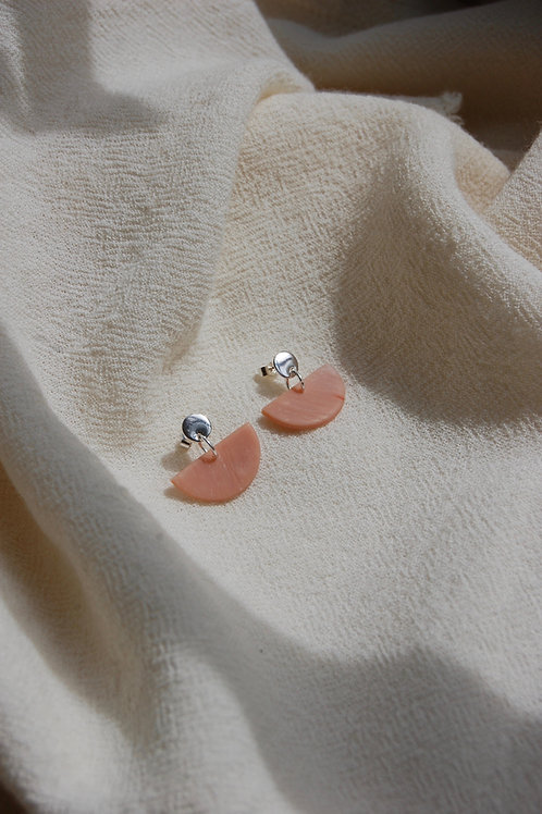 Mini Silver and Coral Marble Clay Half Moon Earrings