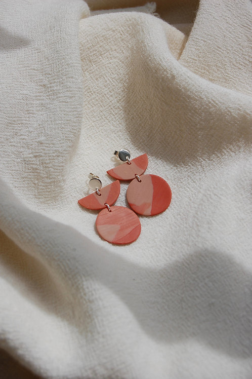 Terrazzo Coral Marble Three Tier Earrings