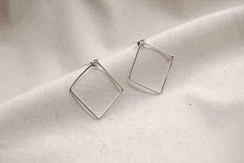 Minimal Silver Square Hoops