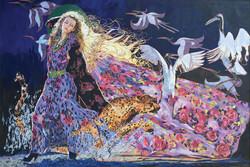 巜远古呼唤》大型系列組画节选一一《丝路之风东方来》(120x160cm)现代重彩