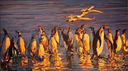企鹅的春天_The Spring of Penguins_26X46英尺_油画.