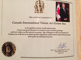 Honorable Certificate from the Prime Minister of Canada
