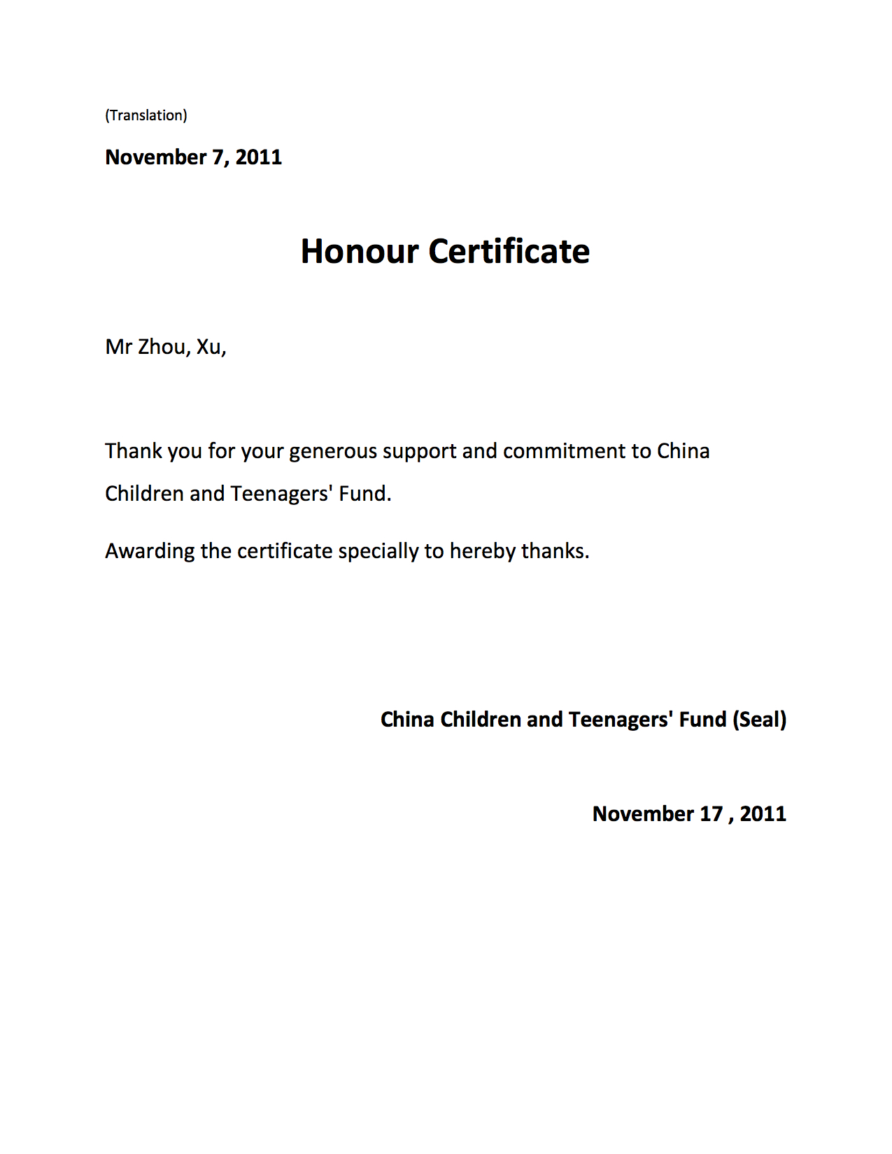 Honour Certificate from China Childr
