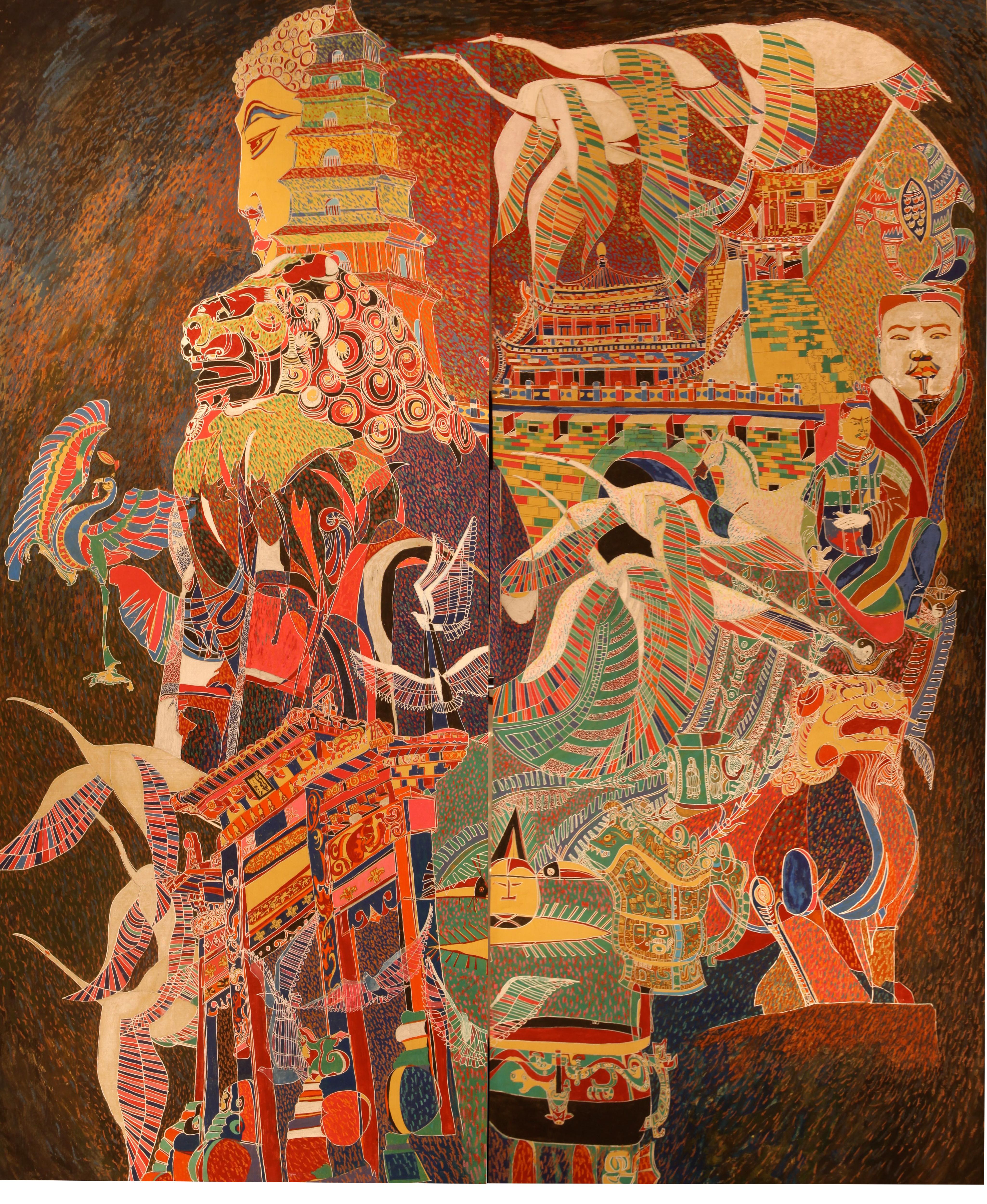 巜大唐盛世》大型系列組画节选一一《大唐盛世畅想曲》(75x65英尺)现代重彩画.