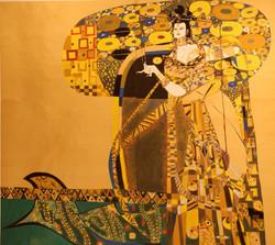 巜大唐盛世》大型系列組画节选一一《大唐芙蓉佳天下》(63x63英尺)现代重彩画.
