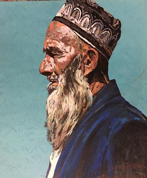 巜远古呼唤》大型系列組画节选一一《远眺𢇁路的老人》(38x52cm)油画.JP