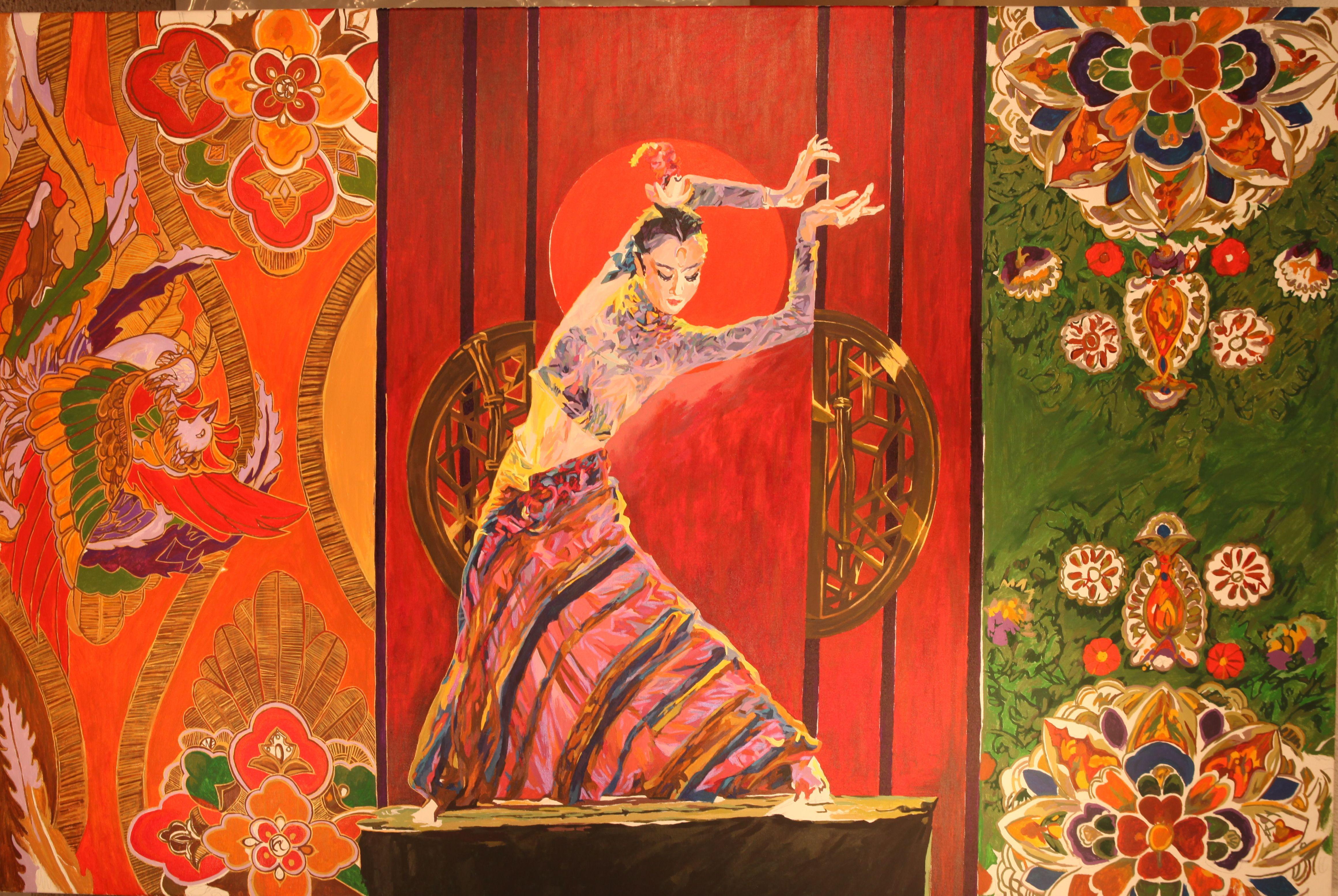 巜大唐盛世》大型系列組画节选一一《大明宫乐舞写意》(48x72英尺)现代重彩画.